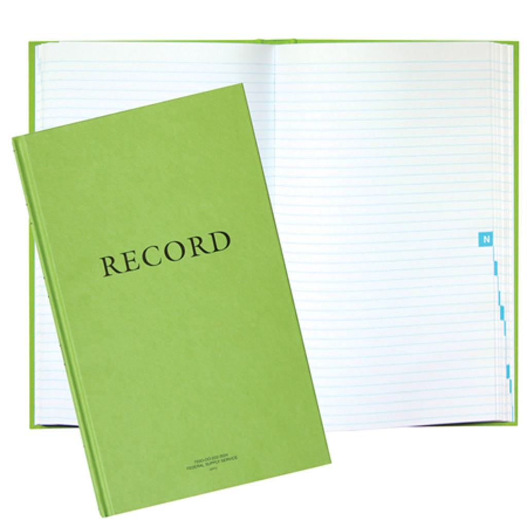 Green record bk 8-1/4x13-11/16