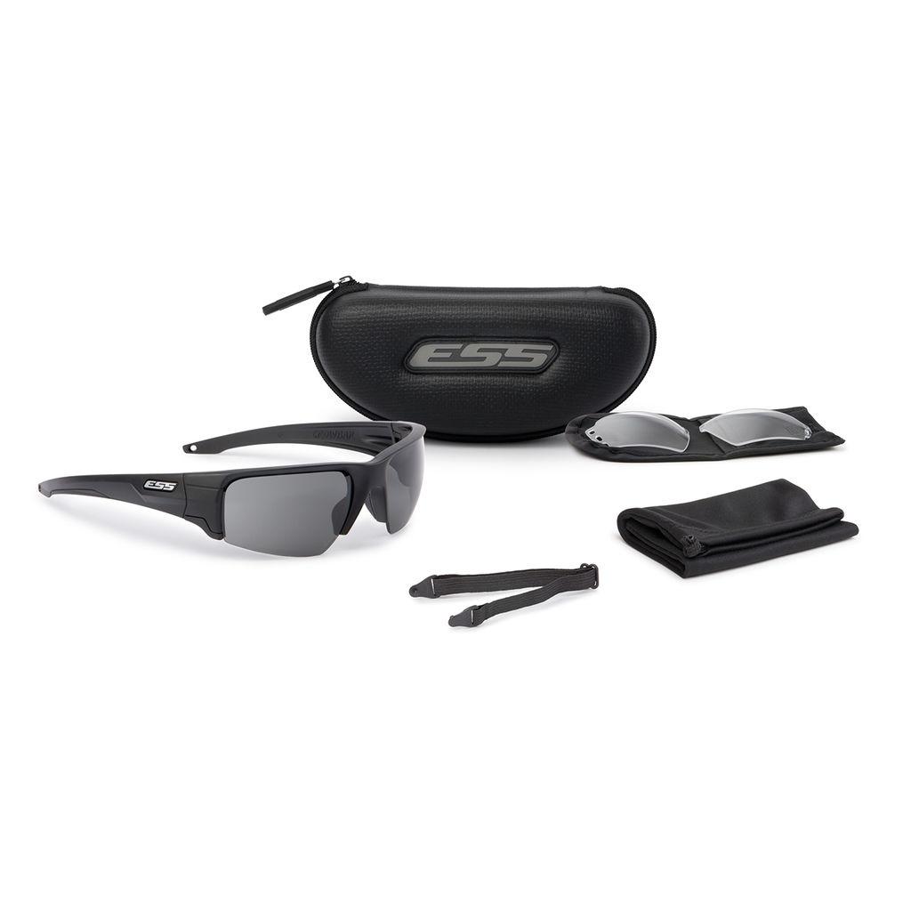 ESS Eyewear - Crowbar - Black w/ Interchangable Clear & Smoke Gray Lenses (Silver ESS Logo)