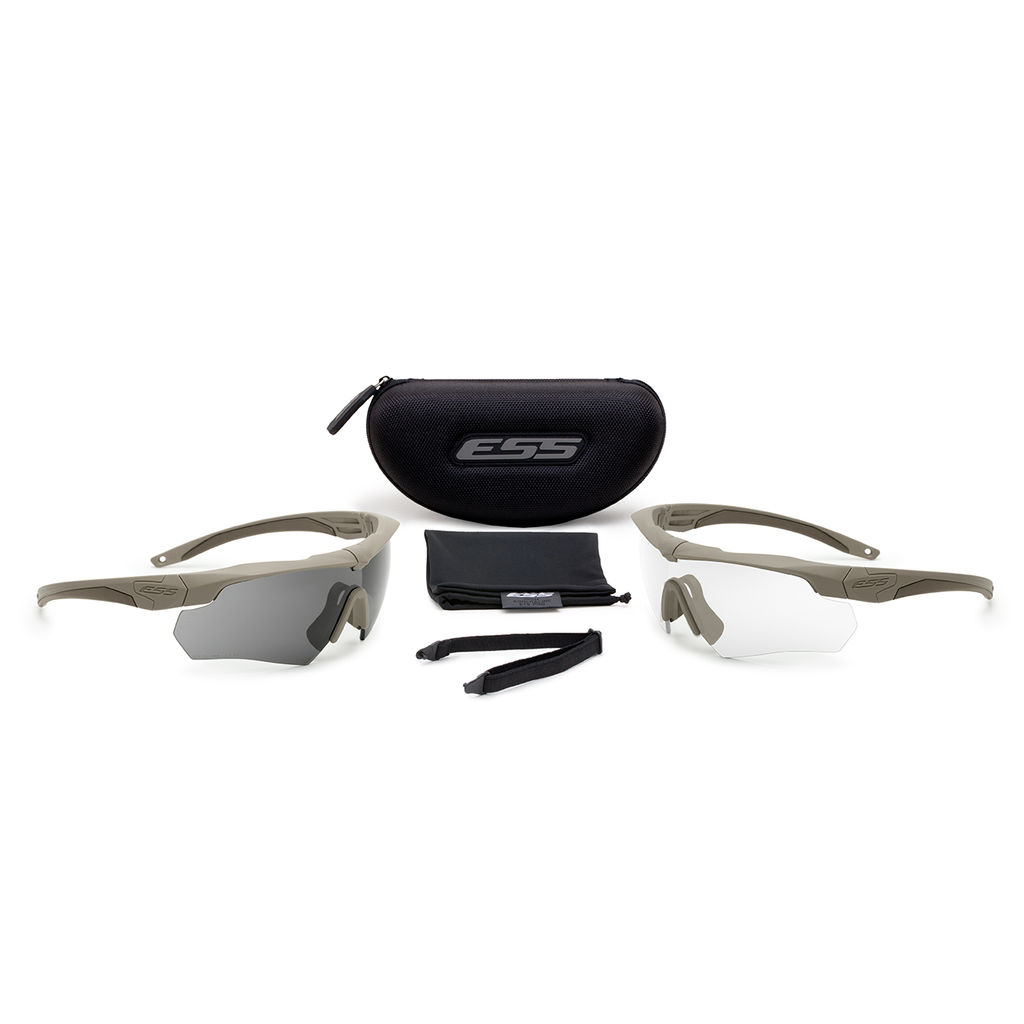 ESS Eyewear - Crossbow 2X - Terrain Tan w/ Clear & Smoke Gray Lenses