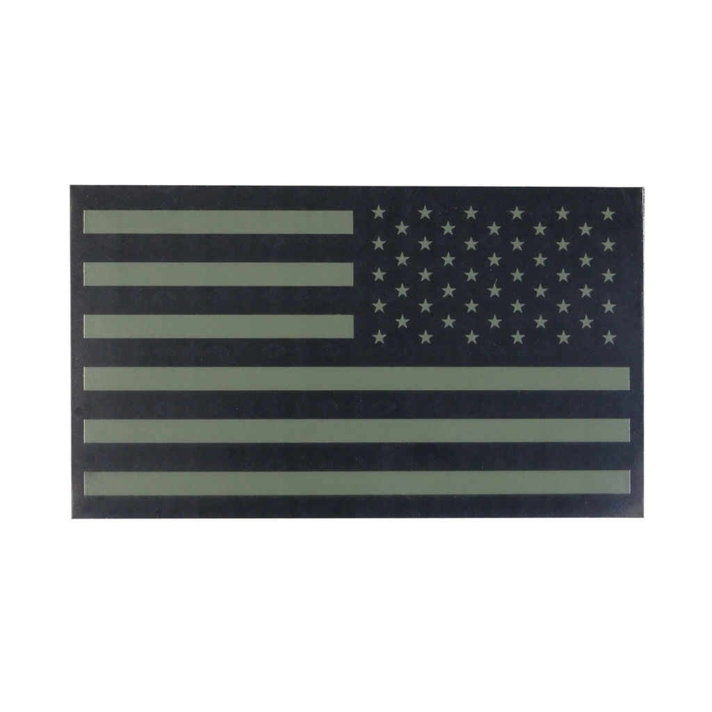 TAG Infrared American Flag Patch Military Uniform Velcro IR USA Flag for Covert Combat Identification - Olive Drab - RIGHT